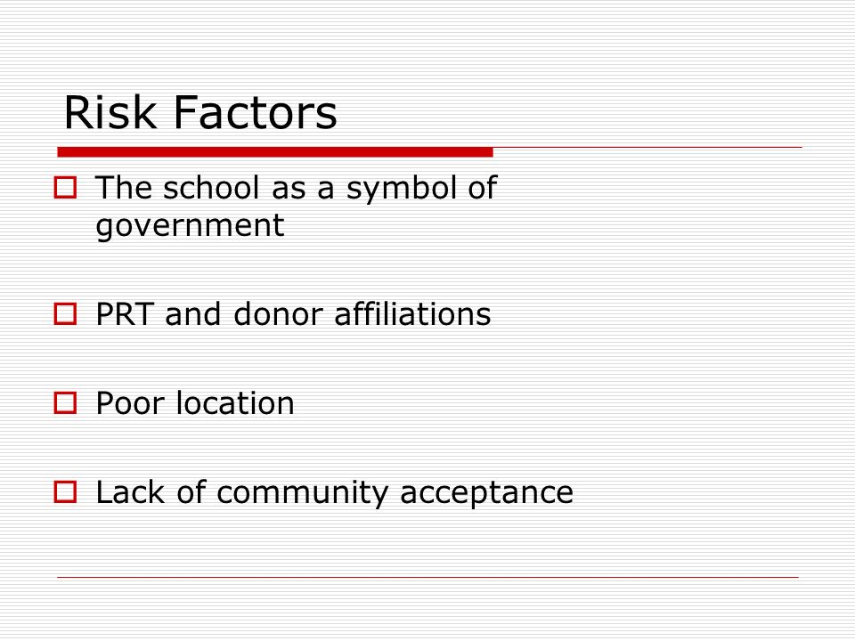 Risk Factors The school as a symbol of government PRT and donor affiliations Poor location Lack of community acceptance