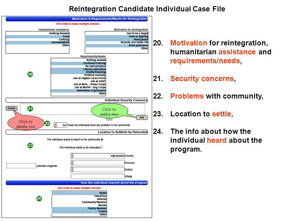 20 21 22 Reintegration Candidate Individual Case File 20.Motivation for reintegration, humanitarian assistance and requirements/needs, 21.Security concerns, 22.Problems with community, 23.Location to settle, 24.The info about how the individual heard about the program.