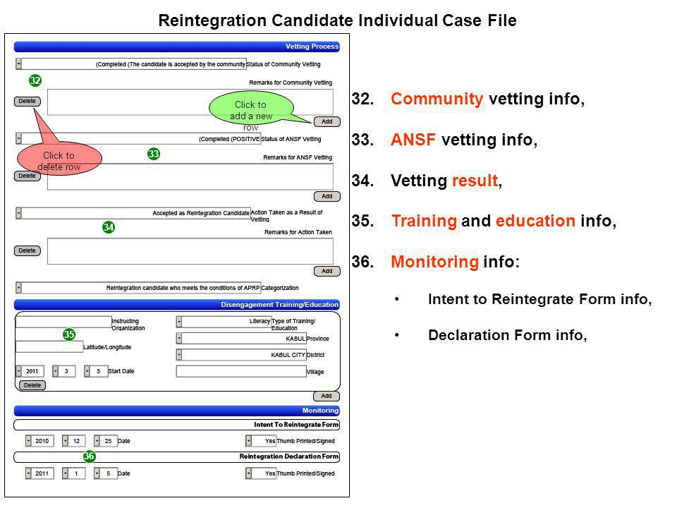 32 33 34 Reintegration Candidate Individual Case File 32.Community vetting info, 33.ANSF vetting info, 34.Vetting result, 35.Training and education info, 36.Monitoring info: Intent to Reintegrate Form info, Declaration Form info, 35 36 Click to add a new row Click to delete row