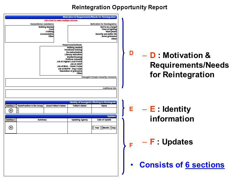 Reintegration Opportunity Report –D : Motivation & Requirements/Needs for Reintegration –E : Identity information –F : Updates Consists of 6 sections D E F