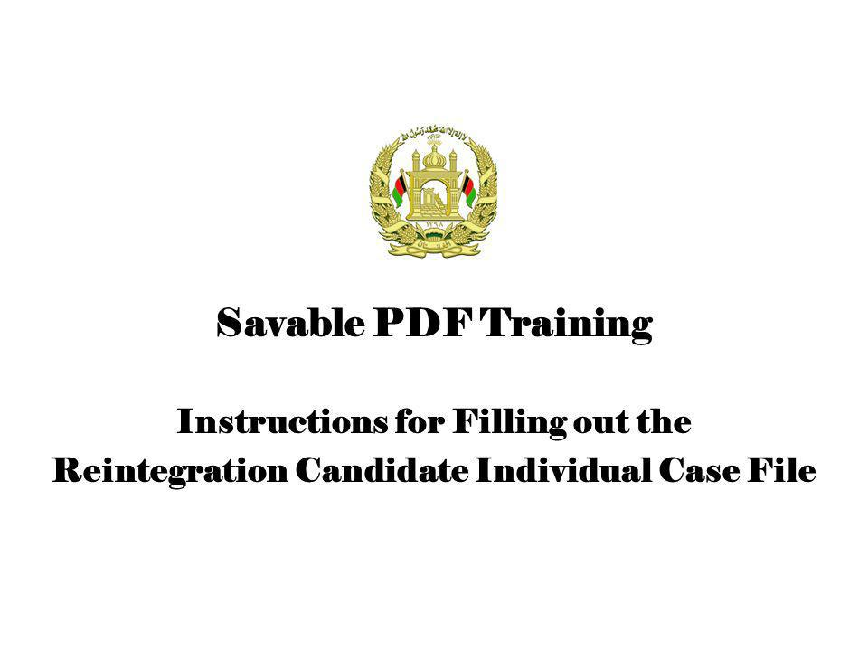 Instructions for Filling out the Reintegration Candidate Individual Case File Savable PDF Training