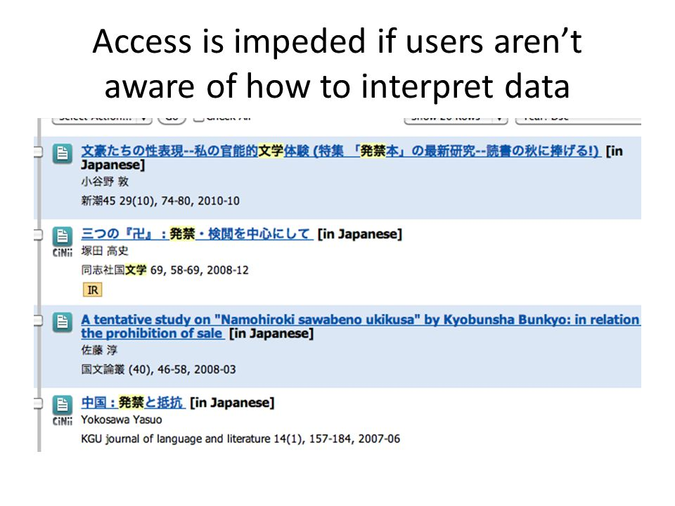 Access is impeded if users arent aware of how to interpret data