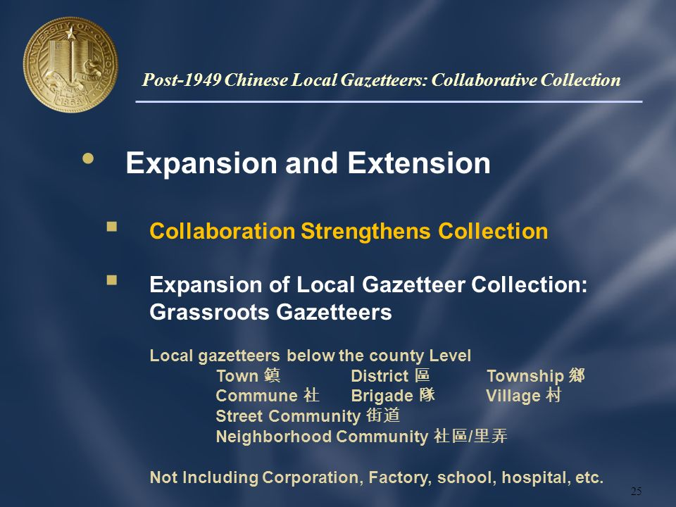 Expansion and Extension Collaboration Strengthens Collection Expansion of Local Gazetteer Collection: Grassroots Gazetteers Local gazetteers below the county Level Town District Township Commune Brigade Village Street Community Neighborhood Community / Not Including Corporation, Factory, school, hospital, etc.