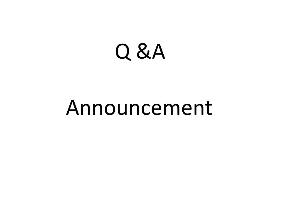 Q &A Announcement