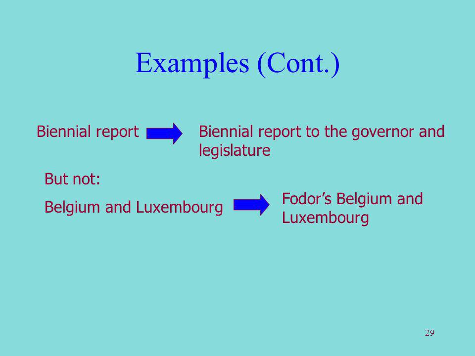 29 Examples (Cont.) Biennial reportBiennial report to the governor and legislature But not: Belgium and Luxembourg Fodors Belgium and Luxembourg