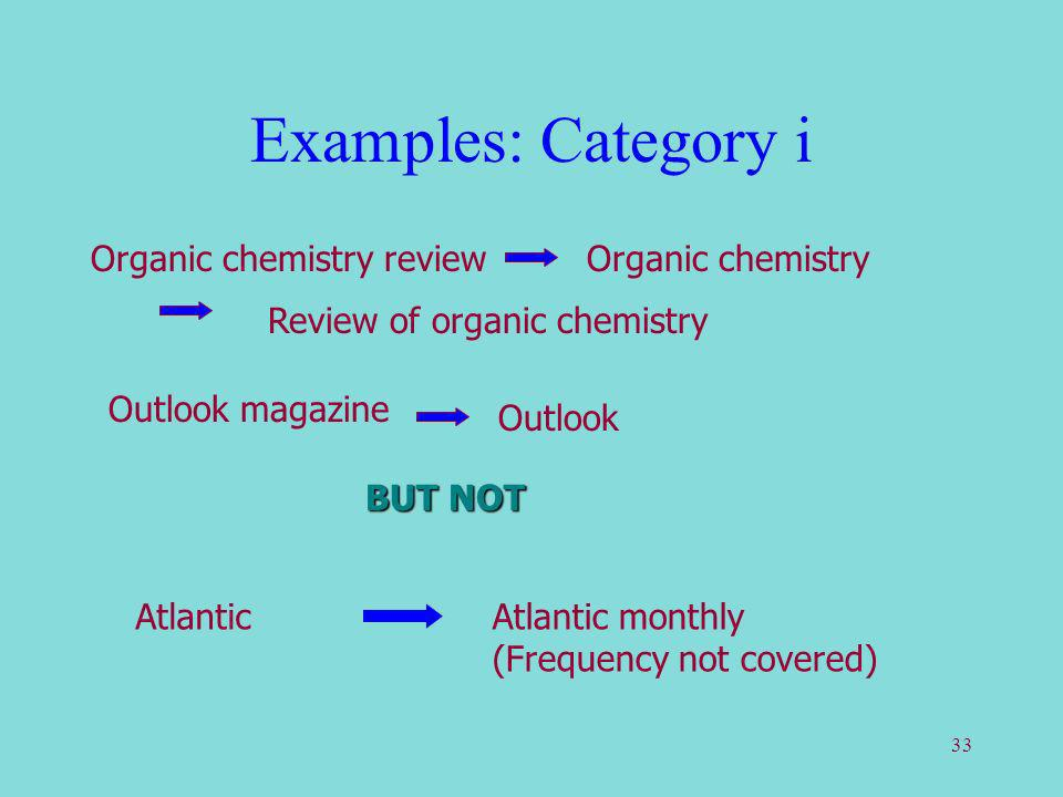 33 Examples: Category i Review of organic chemistry Outlook magazine Outlook BUT NOT AtlanticAtlantic monthly (Frequency not covered) Organic chemistry Organic chemistry review