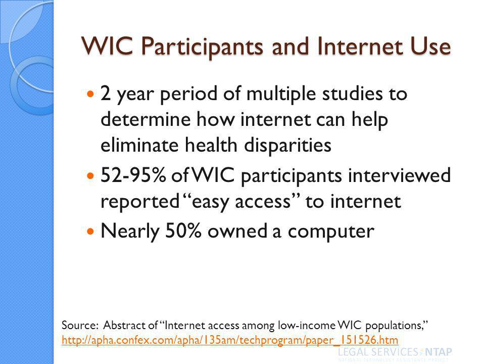 WIC Participants and Internet Use 2 year period of multiple studies to determine how internet can help eliminate health disparities 52-95% of WIC participants interviewed reported easy access to internet Nearly 50% owned a computer Source: Abstract of Internet access among low-income WIC populations, http://apha.confex.com/apha/135am/techprogram/paper_151526.htm http://apha.confex.com/apha/135am/techprogram/paper_151526.htm