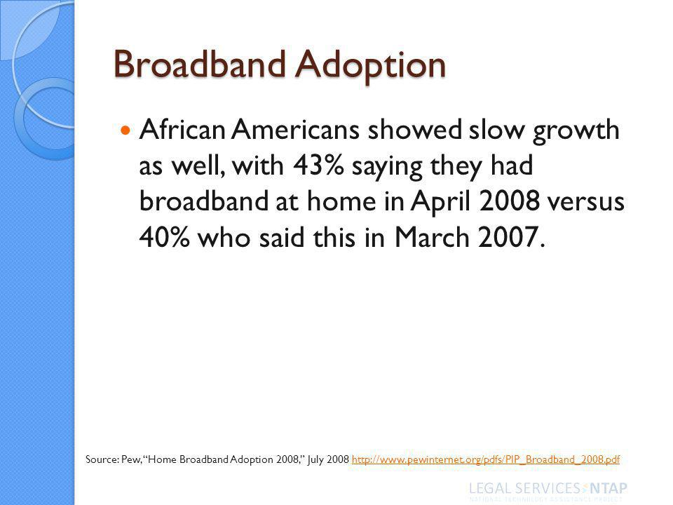 Broadband Adoption African Americans showed slow growth as well, with 43% saying they had broadband at home in April 2008 versus 40% who said this in March 2007.