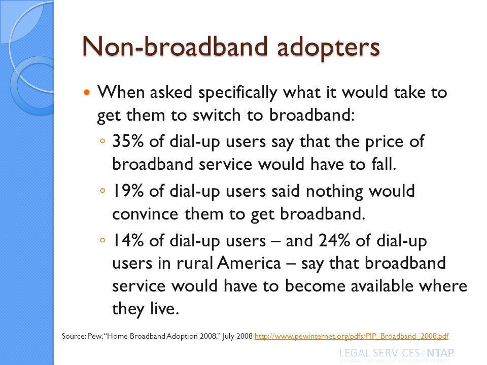 Non-broadband adopters When asked specifically what it would take to get them to switch to broadband: 35% of dial-up users say that the price of broadband service would have to fall.