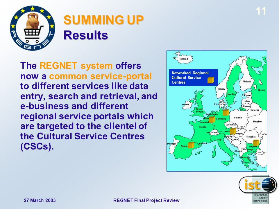 27 March 2003REGNET Final Project Review 11 SUMMING UP Results The REGNET system offers now a common service-portal to different services like data entry, search and retrieval, and e-business and different regional service portals which are targeted to the clientel of the Cultural Service Centres (CSCs).
