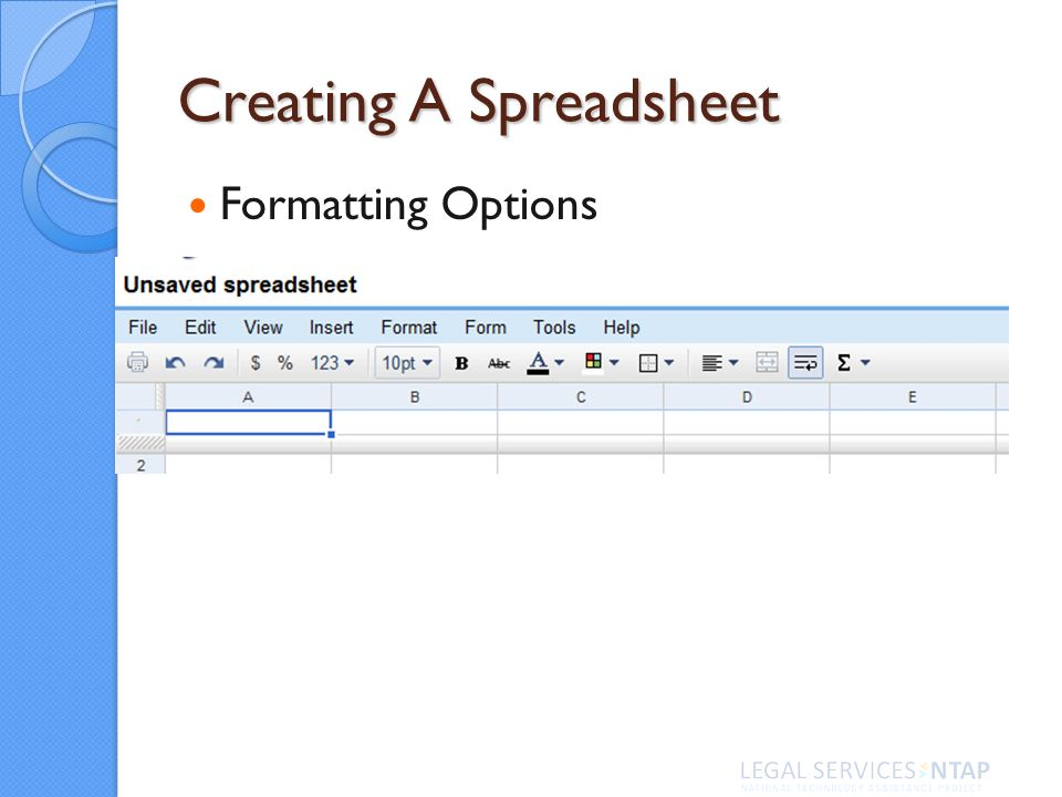 Creating A Spreadsheet Formatting Options