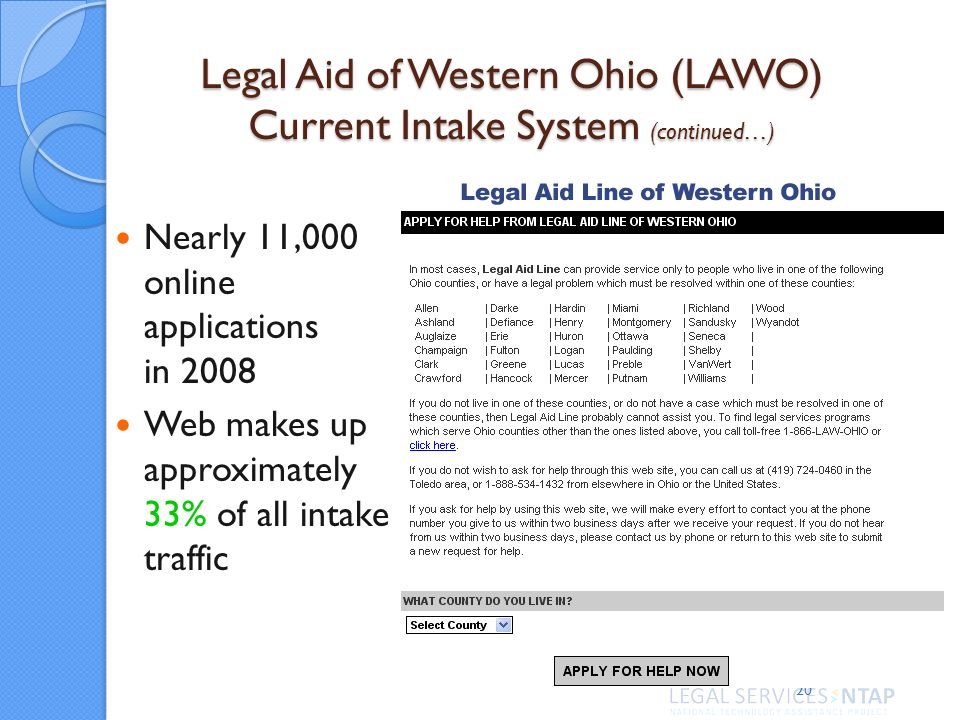 20 Nearly 11,000 online applications in 2008 Web makes up approximately 33% of all intake traffic Legal Aid of Western Ohio (LAWO) Current Intake System (continued…)