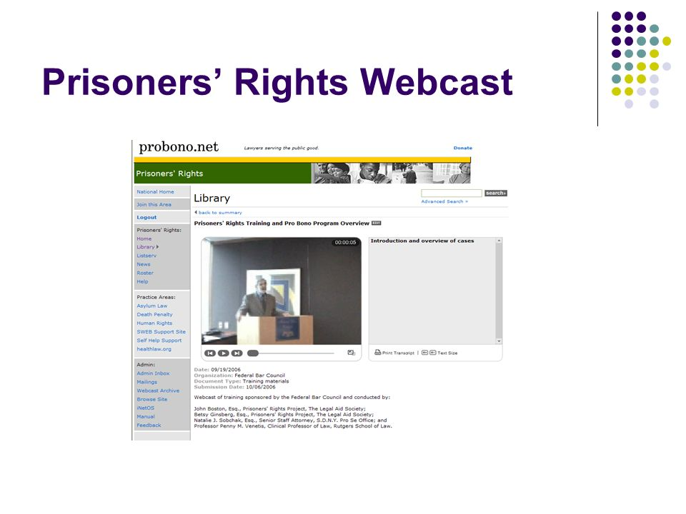 Prisoners Rights Webcast
