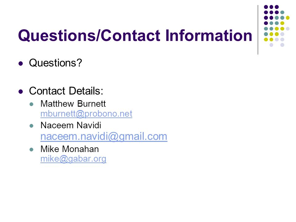 Questions/Contact Information Questions.