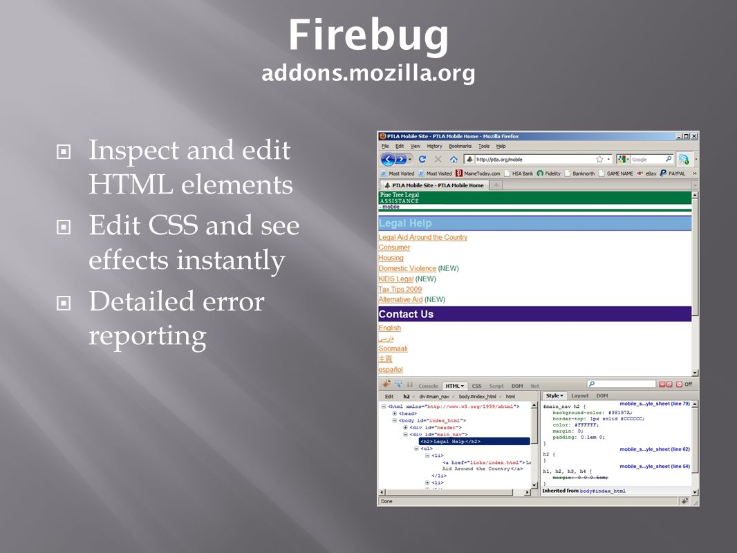 Inspect and edit HTML elements Edit CSS and see effects instantly Detailed error reporting Firebug addons.mozilla.org