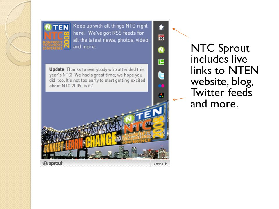 NTC Sprout includes live links to NTEN website, blog, Twitter feeds and more.