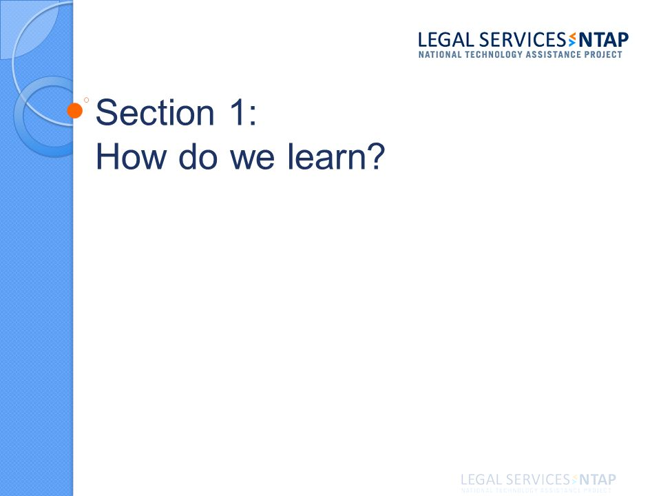 Section 1: How do we learn