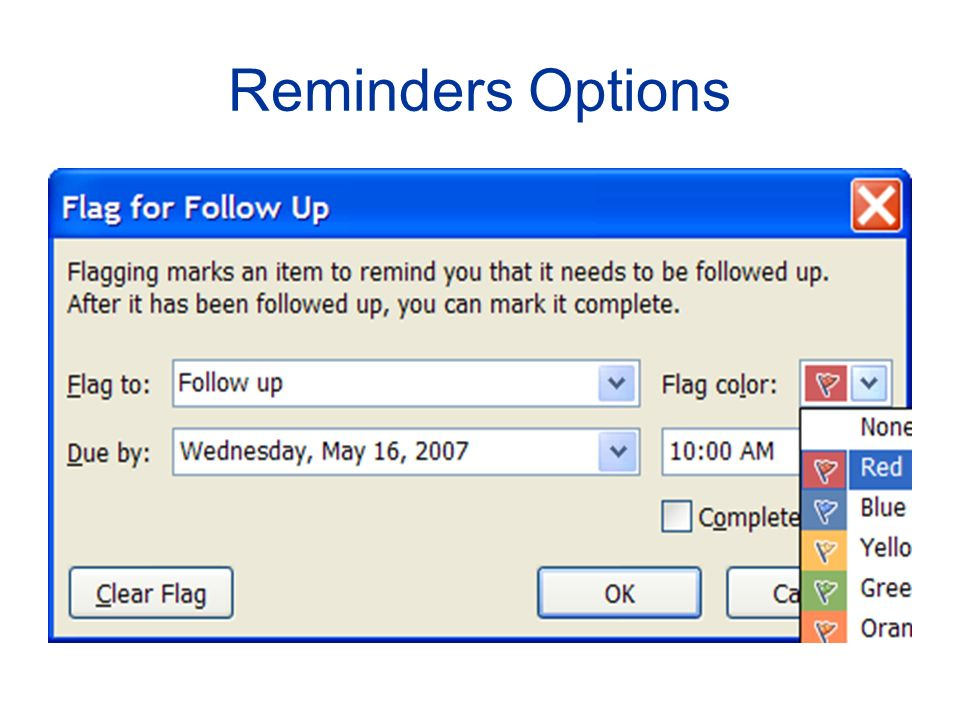 Reminders Options