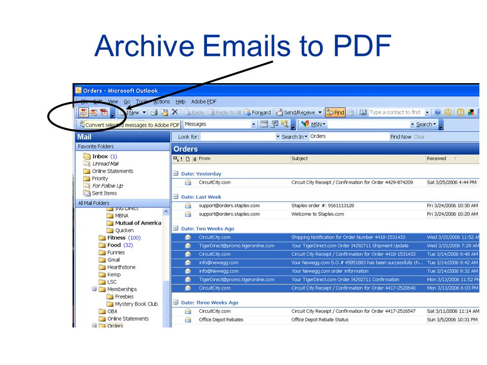 Archive Emails to PDF