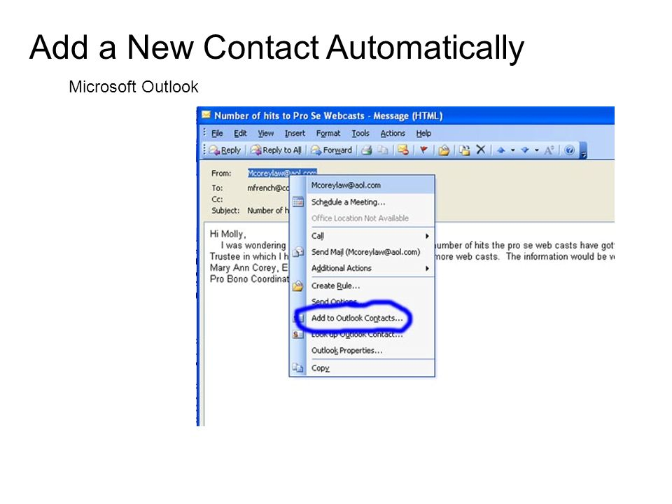 Add a New Contact Automatically Microsoft Outlook