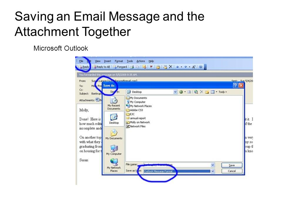Saving an Email Message and the Attachment Together Microsoft Outlook