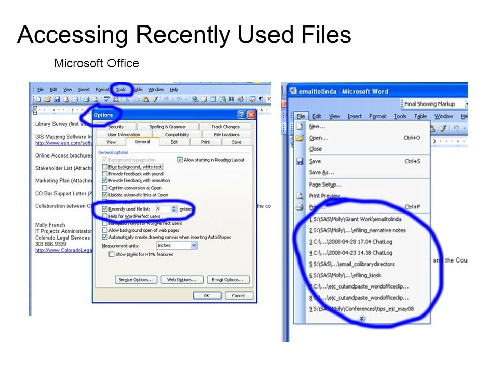 Accessing Recently Used Files Microsoft Office