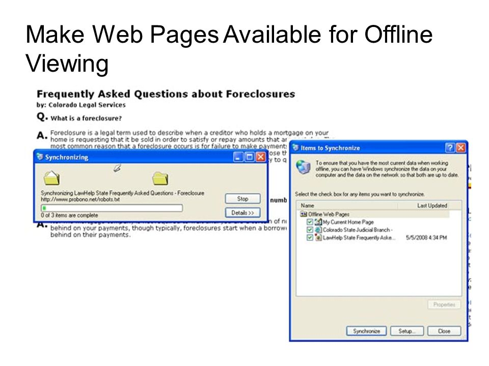 Make Web Pages Available for Offline Viewing