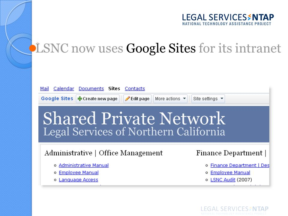LSNC now uses Google Sites for its intranet