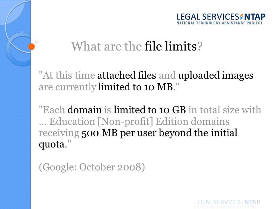 What are the file limits.
