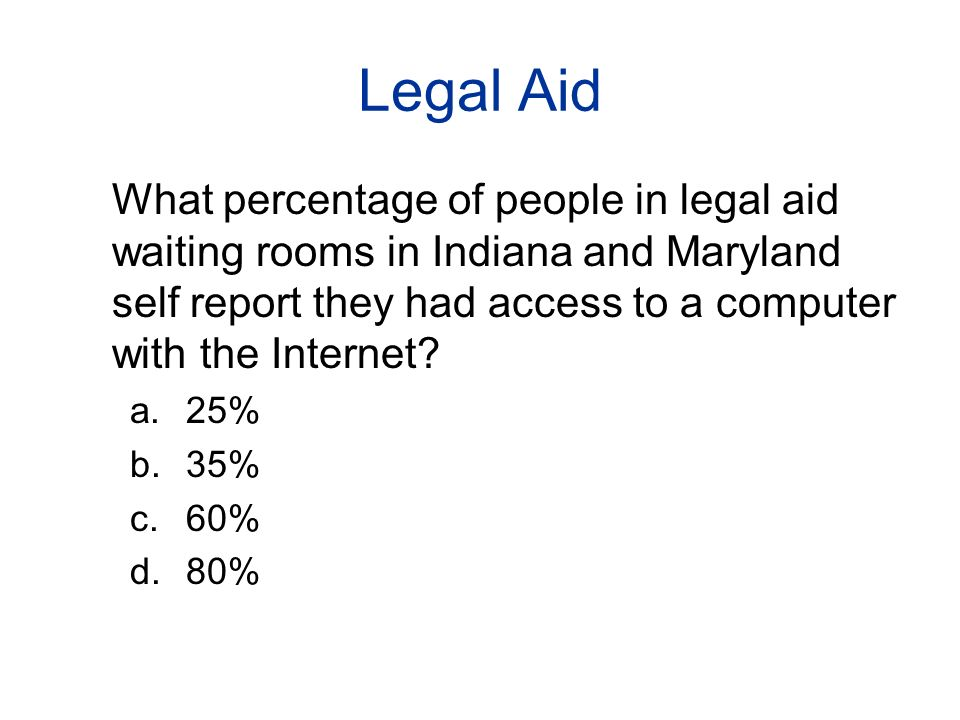 Legal Aid What percentage of people in legal aid waiting rooms in Indiana and Maryland self report they had access to a computer with the Internet.