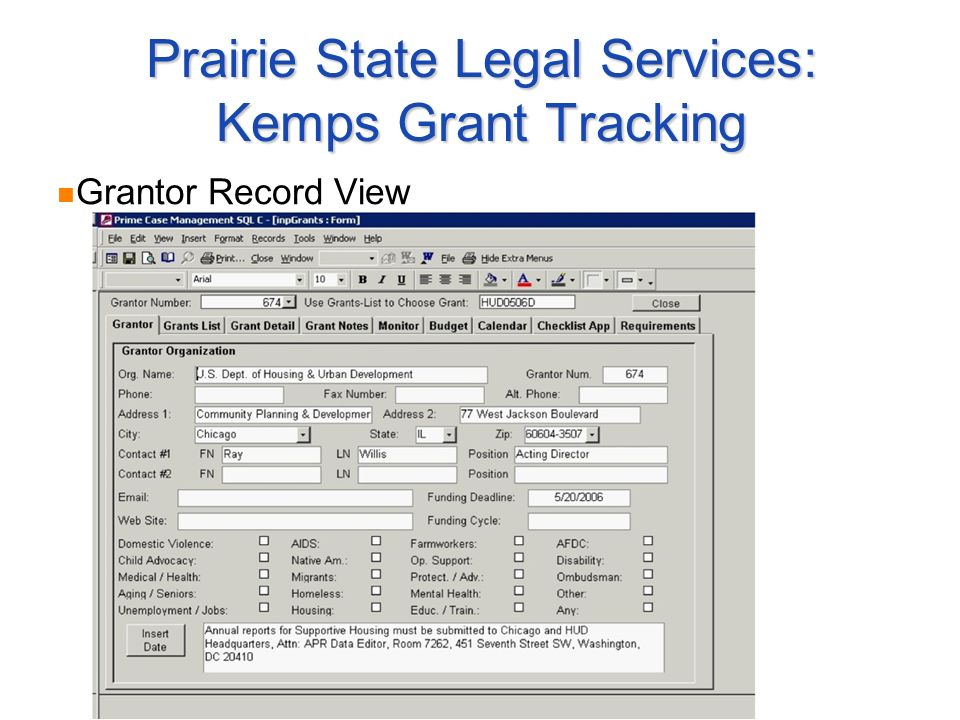 Prairie State Legal Services: Kemps Grant Tracking Grantor Record View