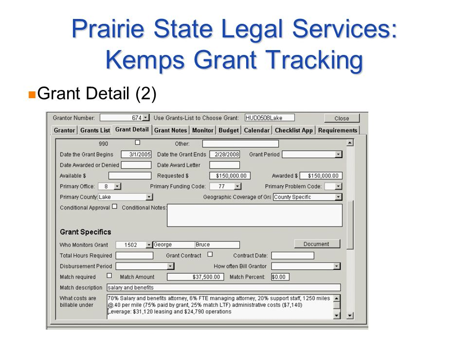 Prairie State Legal Services: Kemps Grant Tracking Grant Detail (2)