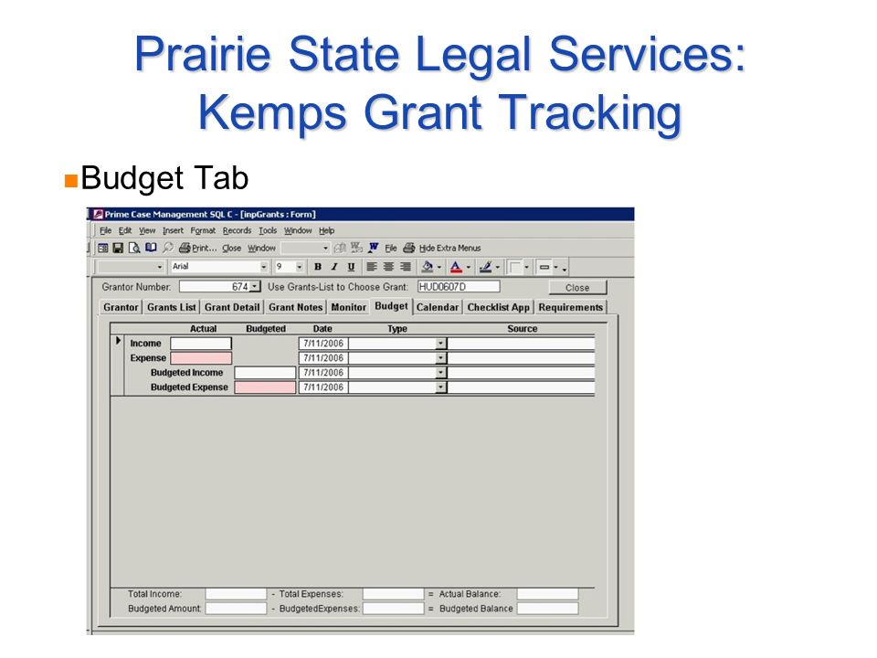 Prairie State Legal Services: Kemps Grant Tracking Budget Tab