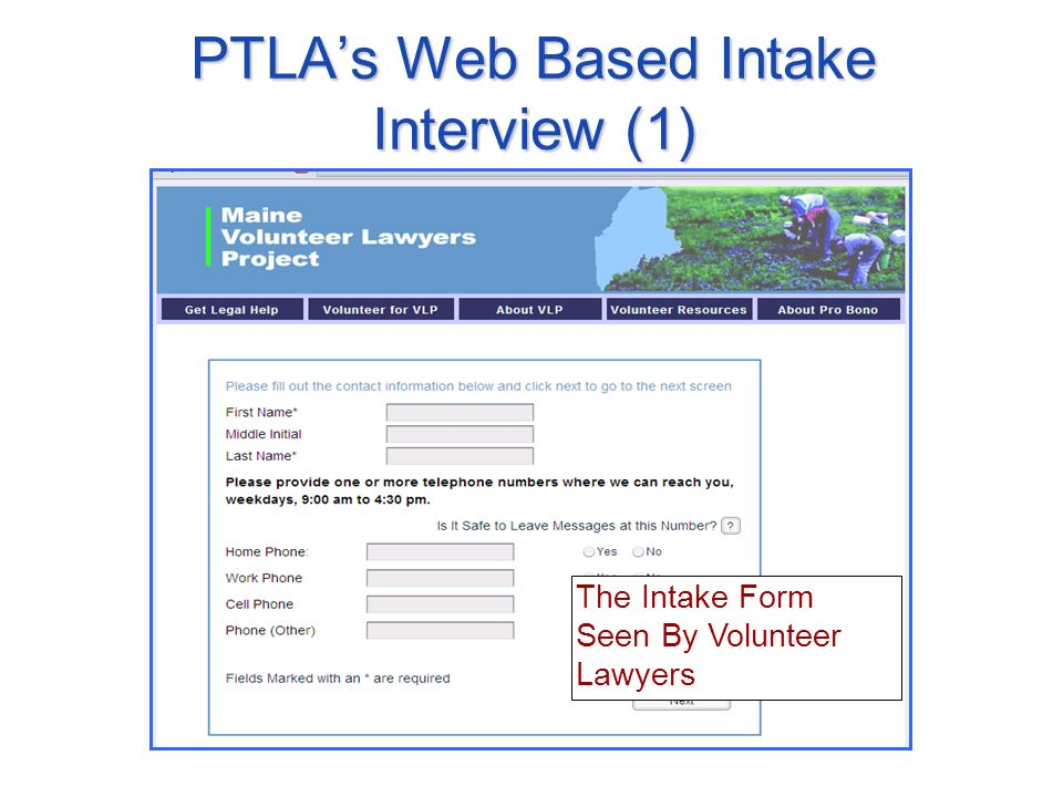 The Intake Form Seen By Volunteer Lawyers PTLAs Web Based Intake Interview (1)