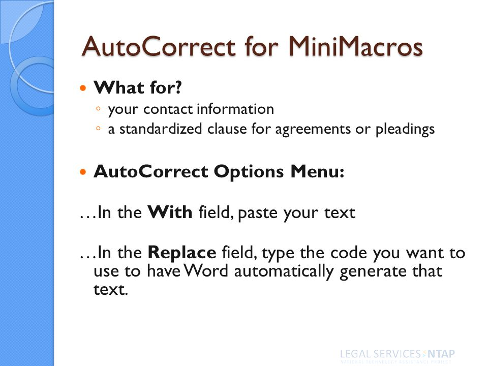 AutoCorrect for MiniMacros What for.