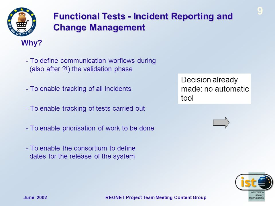 June 2002REGNET Project Team Meeting Content Group 9 - To define communication worflows during (also after !) the validation phase - To enable tracking of all incidents - To enable tracking of tests carried out - To enable priorisation of work to be done - To enable the consortium to define dates for the release of the system Functional Tests - Incident Reporting and Change Management Why.