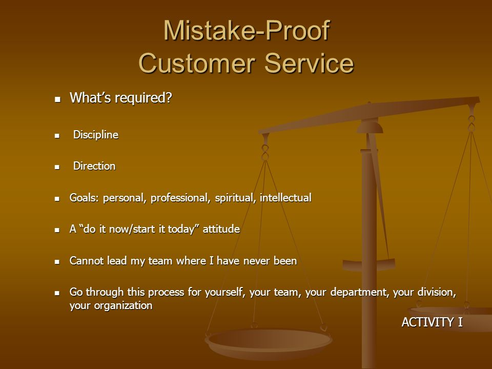 Mistake-Proof Customer Service Whats required. Whats required.