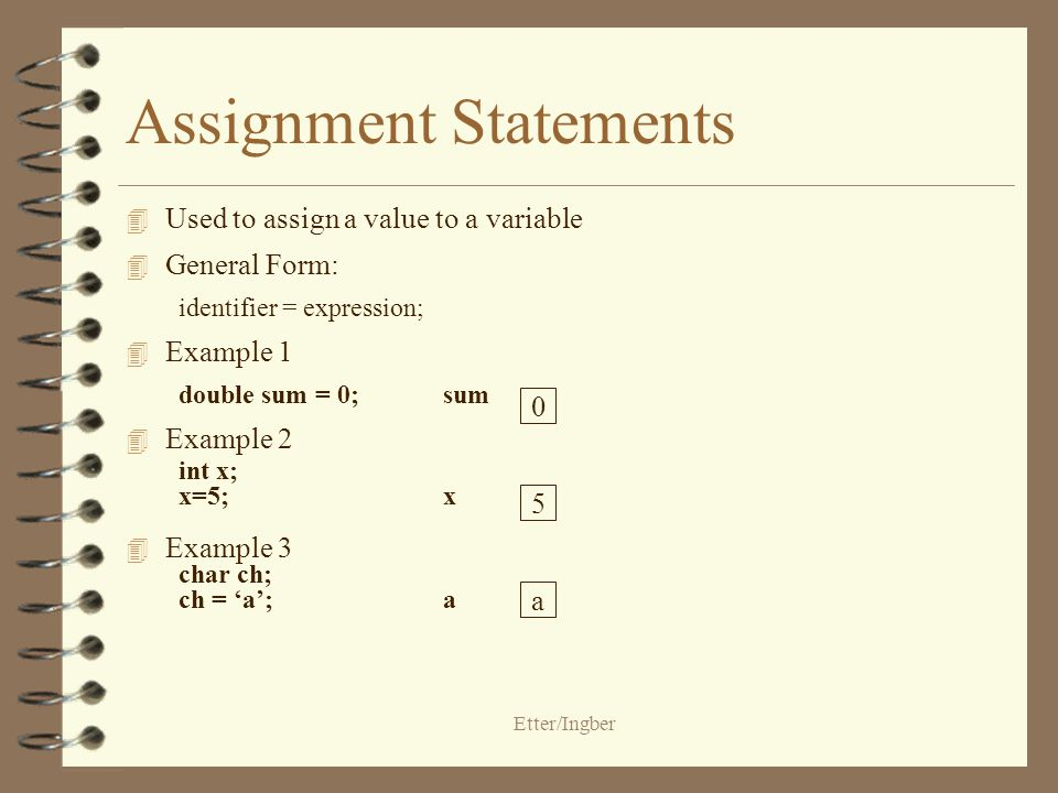 Etter/Ingber Assignment Statements