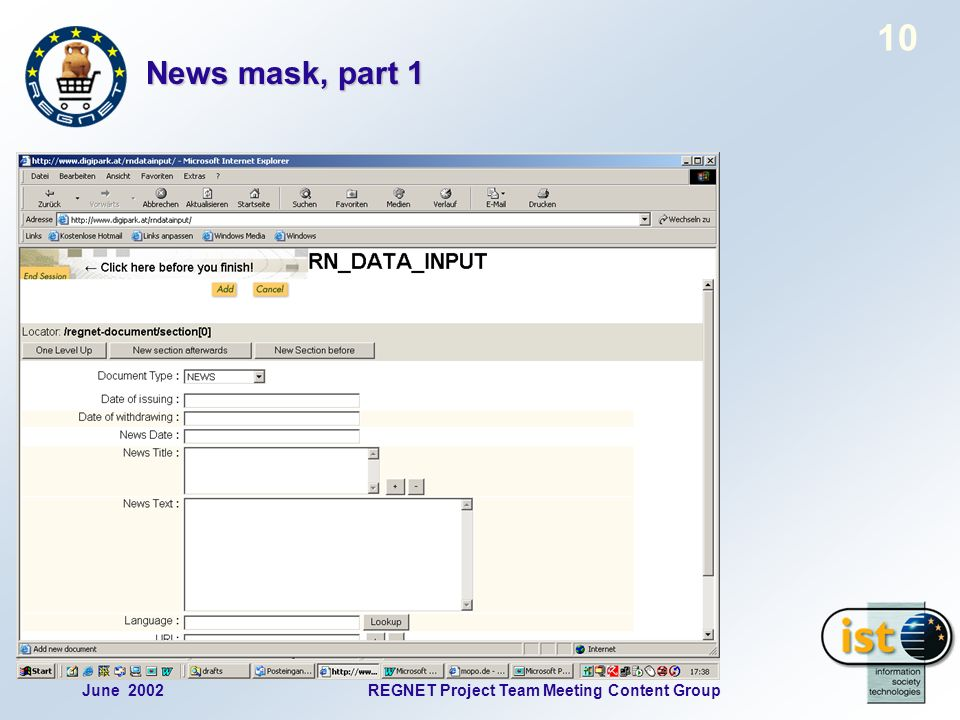 June 2002REGNET Project Team Meeting Content Group 10 News mask, part 1