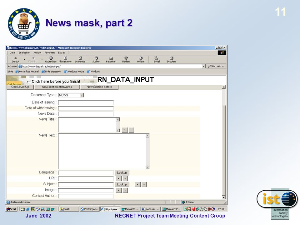 June 2002REGNET Project Team Meeting Content Group 11 News mask, part 2