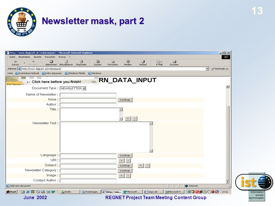 June 2002REGNET Project Team Meeting Content Group 13 Newsletter mask, part 2