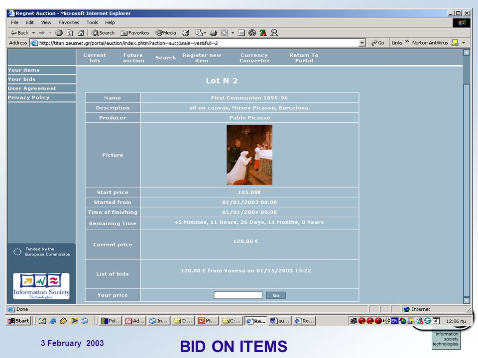 3 February 2003 12 BID ON ITEMS