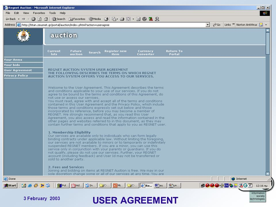 3 February 2003 18 USER AGREEMENT