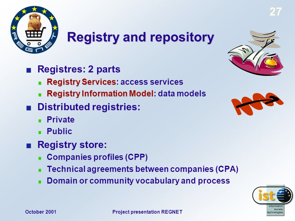 October 2001Project presentation REGNET 27 Registry and repository Registres: 2 parts Registry Services Registry Services: access services Registry Information Model Registry Information Model: data models Distributed registries: Private Public Registry store: Companies profiles (CPP) Technical agreements between companies (CPA) Domain or community vocabulary and process