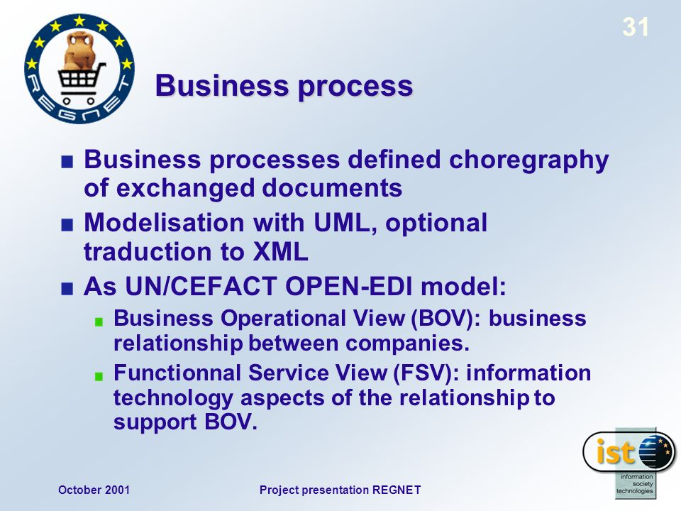 October 2001Project presentation REGNET 31 Business process Business processes defined choregraphy of exchanged documents Modelisation with UML, optional traduction to XML As UN/CEFACT OPEN-EDI model: Business Operational View (BOV): business relationship between companies.