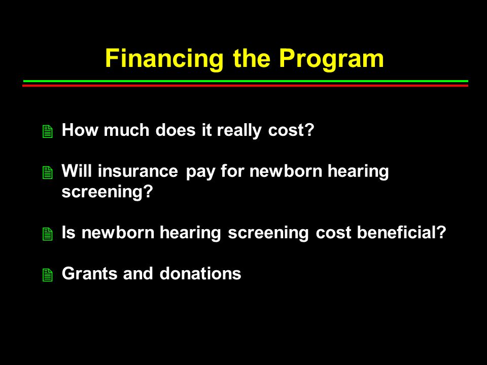 Financing the Program How much does it really cost.