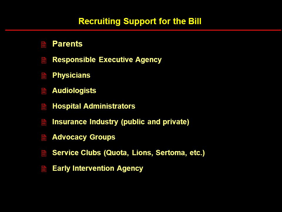 Recruiting Support for the Bill Parents Responsible Executive Agency Physicians Audiologists Hospital Administrators Insurance Industry (public and private) Advocacy Groups Service Clubs (Quota, Lions, Sertoma, etc.) Early Intervention Agency 2 2 2 2 2 2 2 2 2