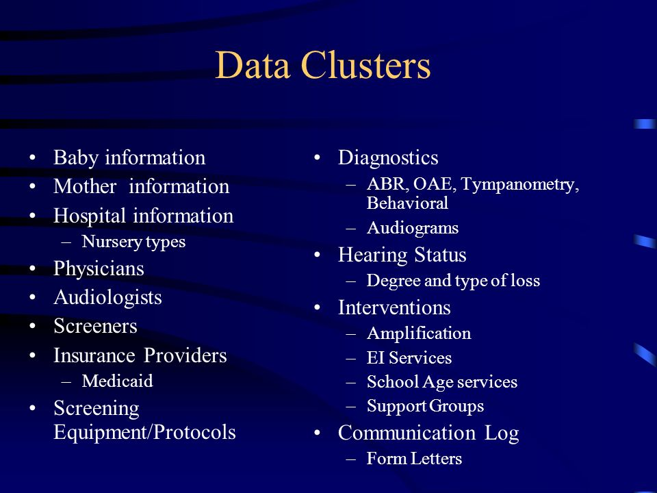 Data Clusters Baby information Mother information Hospital information –Nursery types Physicians Audiologists Screeners Insurance Providers –Medicaid Screening Equipment/Protocols Diagnostics –ABR, OAE, Tympanometry, Behavioral –Audiograms Hearing Status –Degree and type of loss Interventions –Amplification –EI Services –School Age services –Support Groups Communication Log –Form Letters