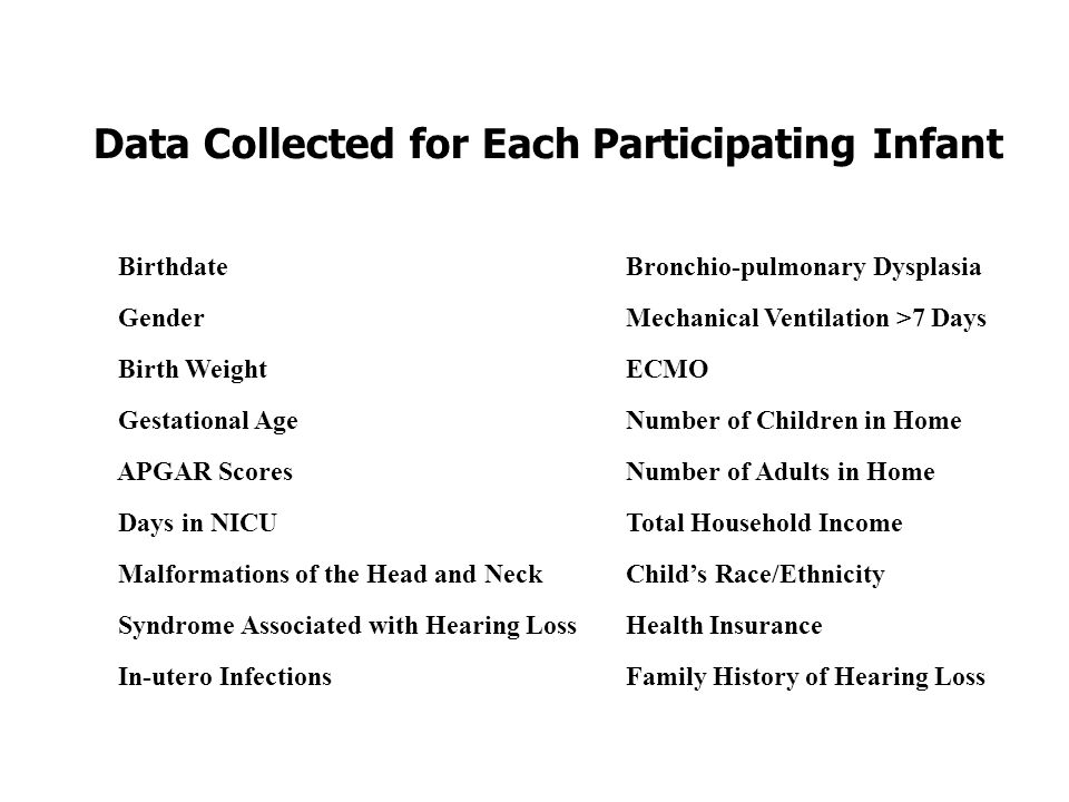 Data Collected for Each Participating Infant BirthdateBronchio-pulmonary Dysplasia GenderMechanical Ventilation >7 Days Birth WeightECMO Gestational AgeNumber of Children in Home APGAR ScoresNumber of Adults in Home Days in NICU Total Household Income Malformations of the Head and NeckChilds Race/Ethnicity Syndrome Associated with Hearing LossHealth Insurance In-utero InfectionsFamily History of Hearing Loss