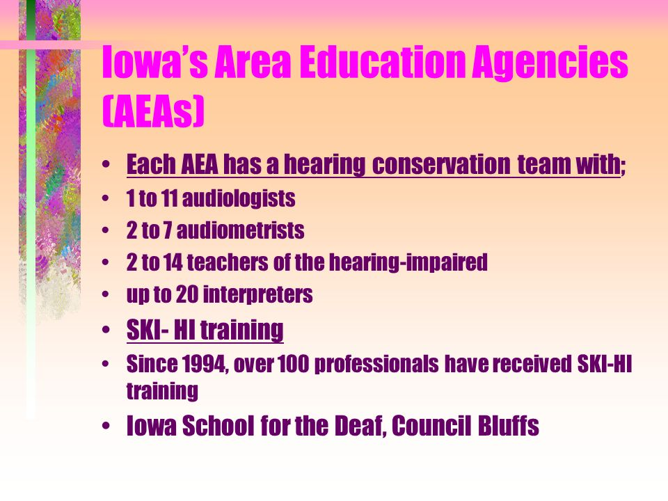 Iowas Area Education Agencies (AEAs) Each AEA has a hearing conservation team with; 1 to 11 audiologists 2 to 7 audiometrists 2 to 14 teachers of the hearing-impaired up to 20 interpreters SKI- HI training Since 1994, over 100 professionals have received SKI-HI training Iowa School for the Deaf, Council Bluffs